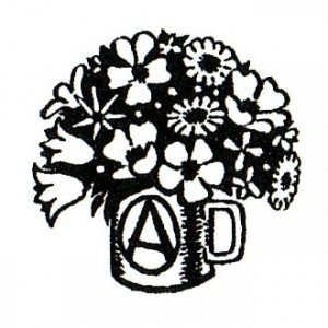 162, @ Mug of flowers Badge by Donald Rooum