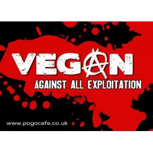 Vegan Against All Exploitation sticker (in Red)